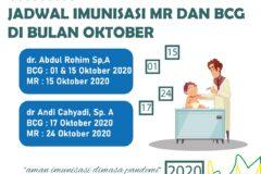 Jadwal imunisasi MR dan BCG bulan Oktober