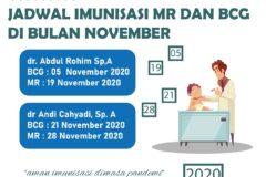 Jadwal Imunisasi MR dan BCG di RS Pura Raharja November