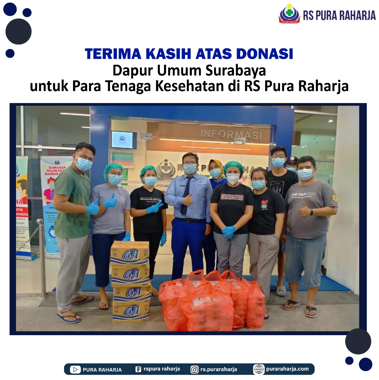 RS Pura Raharja mengucapkan terima kasih kepada Dapur Umum Surabaya